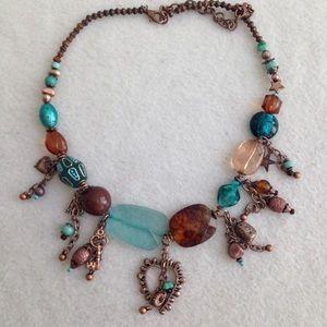 Boho Copper Dangle Statement Necklace